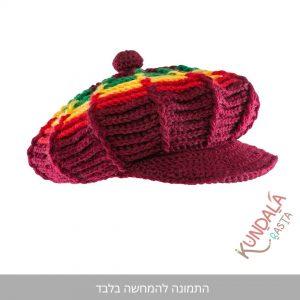 כובע גרב קסקט דגם אדום ראסטפארי