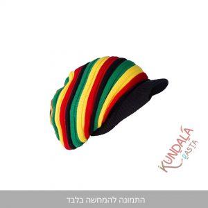 כובע גרב קסקט דגם ראסטפארי שחור - קונדלראסטה