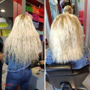 תמונה לפני ואחרי של אישה עם תוספות שיער בלונד