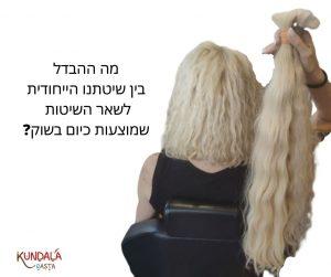 תמונה של בחורה מחזיקה תוספות שיער וליד הכיתוב - מה ההבדל בין שיטתנו הייחודית לשאר השיטות שמוצעות כיום בשוק